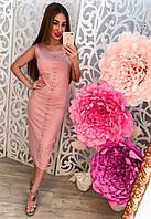 Женское красивое платье-майка миди с камнями (2 цвета), фото 1
