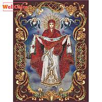 """Картина для рисования камнями Diamond painting Алмазная вышивка икона """"Покрова Пресвятой Богородицы"""" , фото 1"""