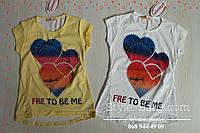 Туника футболка детская для девочек Сердце стразы размер 8-9,10-11,12-13,15 лет