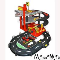 Гараж Ferrari, серия Ferrari rase & play (3-х уровневая трасса, 2 машинки), Bburago, Красный