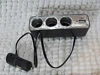 Адаптер в авто, тройник + USB. Разветвитель в зарядное 12 V