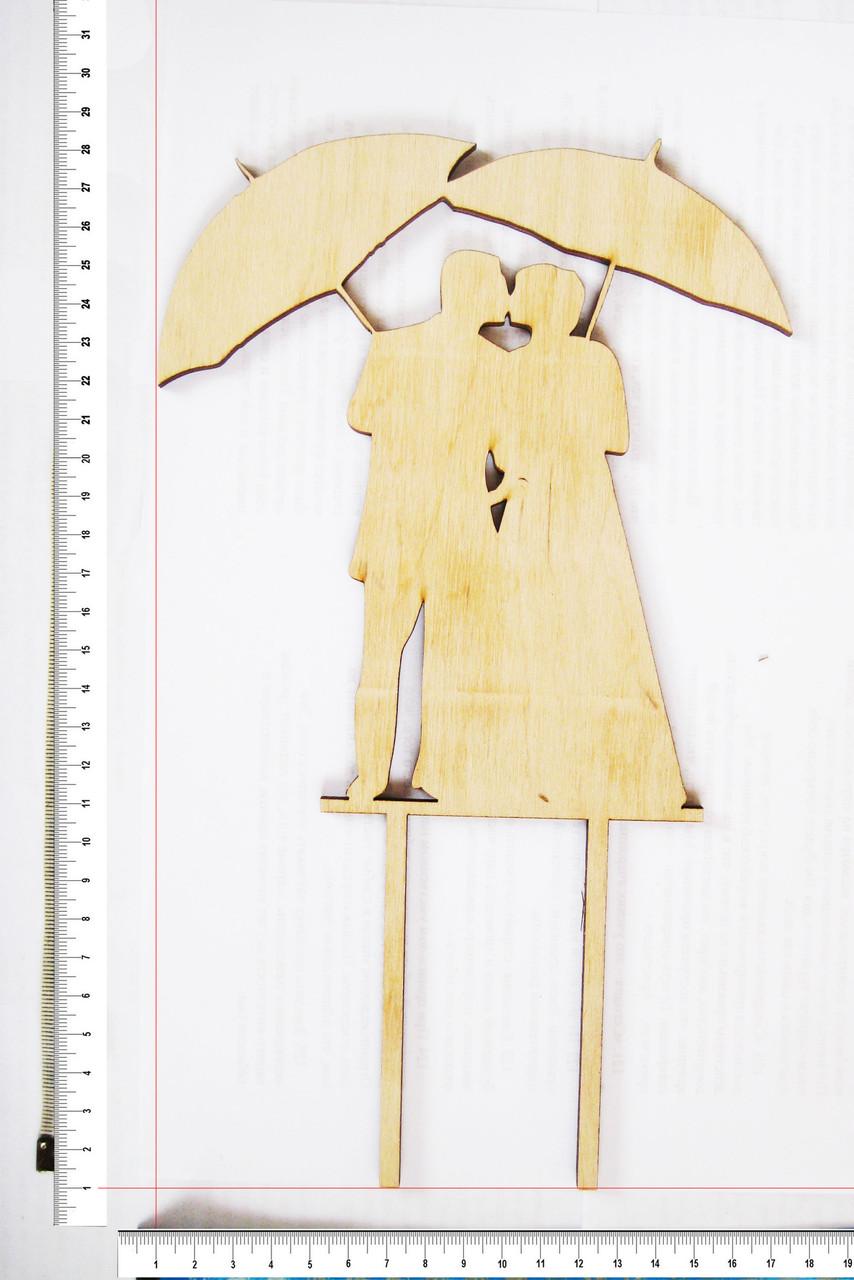 Топер Молодожены под зонтиками 27,5 х 16,5 см