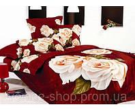 комплект Постельного белья Le Vele бордовое с белой розой