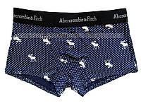 Мужские трусы боксёры (хипсы) Abercrombie & Fitch синие c принтом олень