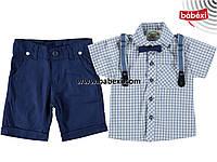 Комплект:рубашка+шорты+подтяжки на мальчика 5,6,8 лет.  210750