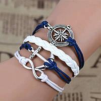 Браслет кожаный женский сине-белый 6112