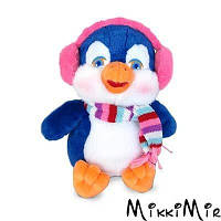 Мягкая игрушка Пингвин в наушниках (муз. 23 см), Lava