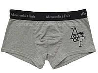 Мужские трусы боксёры Abercrombie & Fitch серые с логотипом
