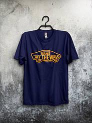 Мужская футболка Vans,мужская футболка Ванс, спортивная, брендовая, хлопок, синяя, размеры: ХС-ХХХЛ