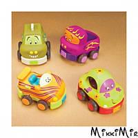 Забавный автопарк, 4 резиновые машинки-погремушки, Battat