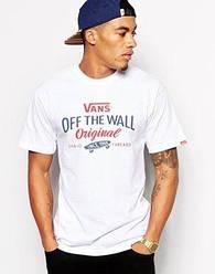 Мужская футболка Vans,мужская футболка Ванс, спортивная, брендовая, хлопок, белая, размеры: ХС-ХХХЛ