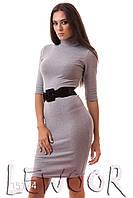 Строгое платье из вискозы с воротом под шею Светло-серый, Размер 46 (L)