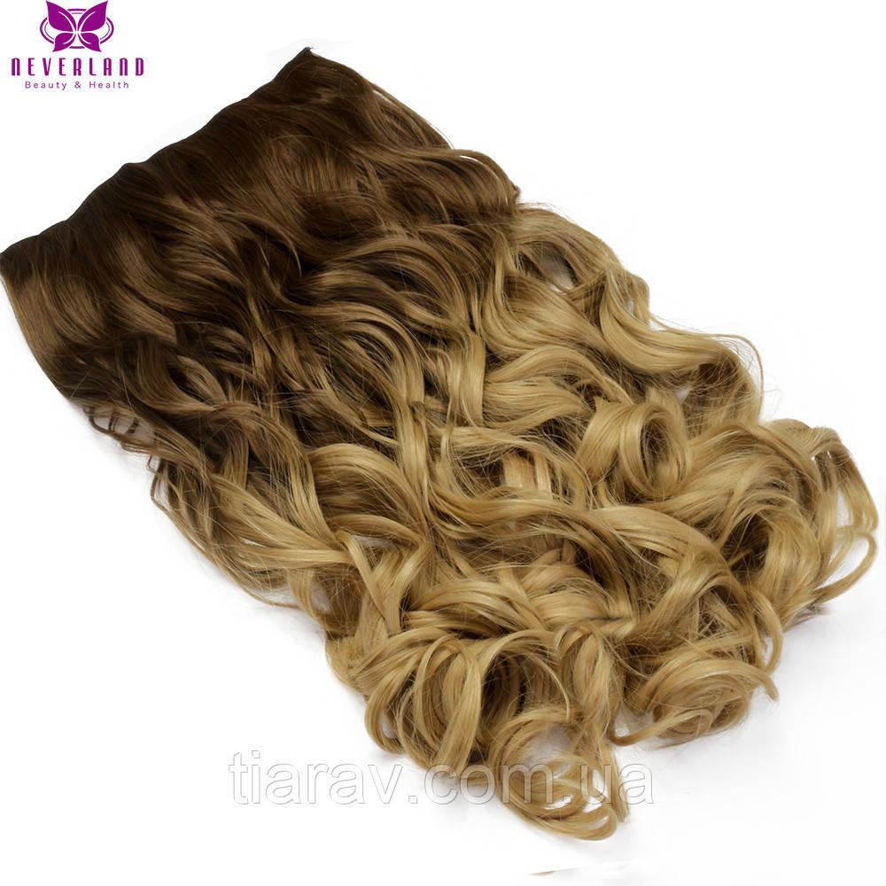 Волосы на заколках ТЕРМОСТОЙКИЕ волнистые темно русые накладной тресс