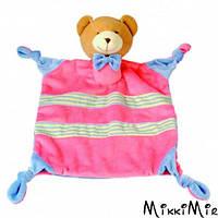 Игрушка платочек Медведик большой, Bino, Розовый