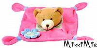 Игрушка платочек Медведик, Bino, Розовый