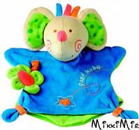 Игрушка платочек Слоник, Bino, Голубой