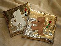 """Декорированные наволочки на диванные подушки """"Мишка с коктейлем Молотова"""""""