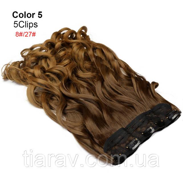 Волосы на заколках кудрявые ТЕРМОСТОЙКИЕ омбре светло- коричневые тресс волос