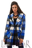 Короткое пальто в клетку из кашемира Синий, Размер 46 (L)