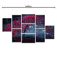 Модульные картины на холсте с принтом Красное дерево