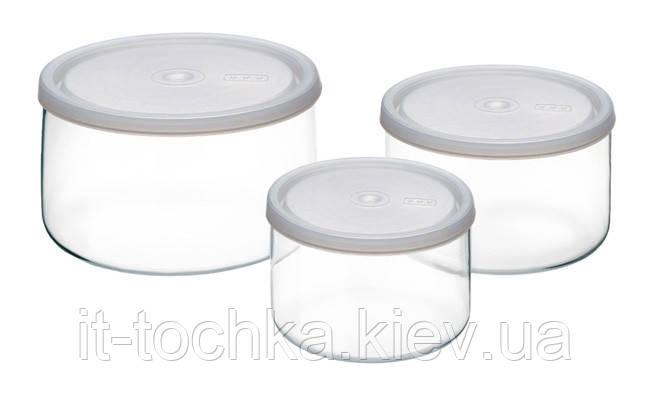 Набор емкостей для хранения simax 115 с крышками  3 шт 0,4/0,8/1,5 л