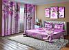 """ФотоКомплект """"Малиновые орхидеи и бабочки"""" Шторы (2,50*2,60), Покрывало (2,10*1,70)"""