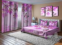 """Фото Комплект для спальни """"Малиновые орхидеи и бабочки"""""""
