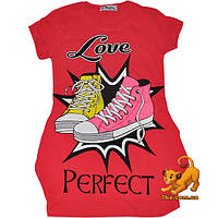 "Яркая летняя туника ""Love Rerfect"" , из трикотажа , для девочки (9-12 лет) 4 ед. в уп."
