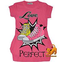 """Яркая летняя туника """"Love Rerfect"""" , из трикотажа , для девочек (9-12 лет) 4 ед. в уп."""
