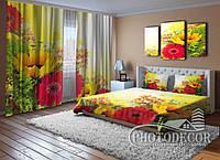 """ФотоКомплект для спальни """"Малиновые цветы и бабочки"""""""