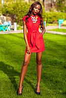 Коктейльное Платье Трансформер из Льна Красное