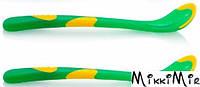 Ложки с термочувствительным краем, две зелёные, Nuby, две зеленые, Зеленый