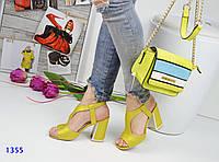 Женские босоножки на каблуке 9.5 см, итальянская  эко кожа, желтые / босоножки женские, модные, хит 2017