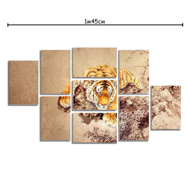 Модульные картины на холсте с принтом Тигр