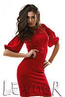 Праздничное трикотажное платье с рукавом волан