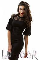 Нарядное платье с вставкой из гипюра на груди
