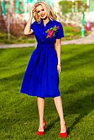 Платье Рубашечного Стиля с Дорогой Вышивкой Электрик