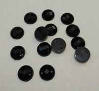 Камень пришивной (серединка) пластиковый чёрный гранённый 10 мм, упаковка 10 шт., фото 1
