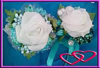 """Свадебный набор бутоньерок для свидетелей """"Открытая роза"""" Бирюзовый"""