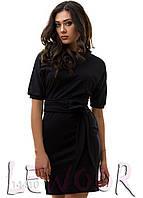 """Интересное платье с рукавом """"летучая мышь"""" Черный, Размер 48 (XL)"""