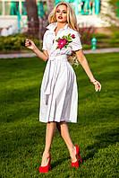 Платье Рубашечного Стиля с Дорогой Вышивкой Белое