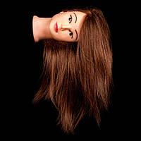 Учебный манекен для причесок, 80% натуральный волос, шатенка