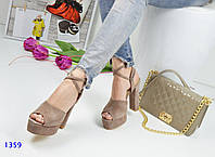 Женские босоножки на каблуке 14 см, замшевые, коричневые / босоножки для девочек, стильные