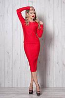 Модный деловой трикотажный женский костюм-двойка, юбка и кофта