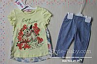 Стильная туника с шифоном и бриджи Детский летний костюм Турция размер 2,3,4,5 лет