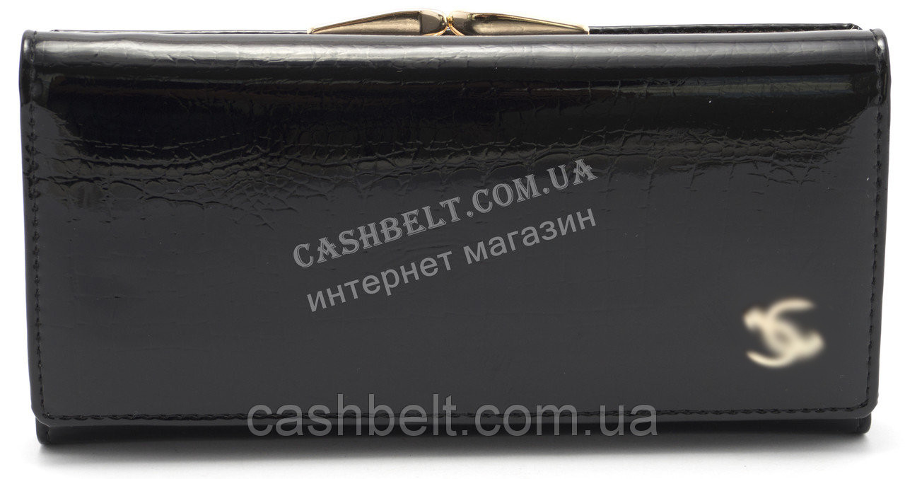 Стильный кожаный лаковый женский кошелек черного цвета art.P7001