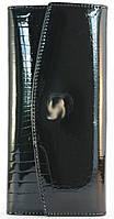 Кожаный чёрный лаковый женский кошелек art. 7005B, фото 1