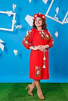 Вышиванка платье красное