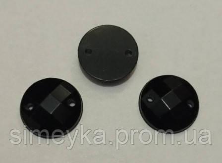 Камень пришивной (серединка) пластиковый чёрный гранённый 12 мм, упаковка 10 шт.