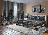 """Фото Комплект для спальни """"Черно белый город"""""""
